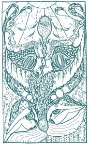 Emergence Indigo-drawing by L Studley