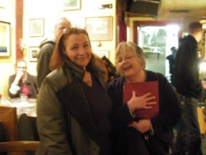 "Jeannie Lindgren and I at Alaska Cafe ""Grab the Spirit"" Poetry Reading"