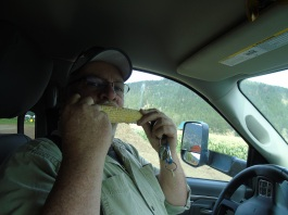 Bill eating corn