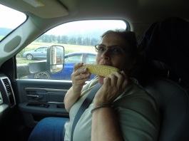 Linda eating corn